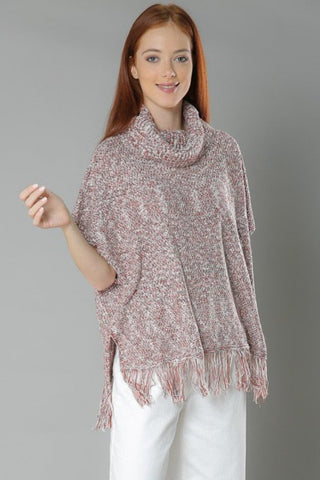 Fringed Hem Pullover Poncho- Rust/White/Black - Gingerlining