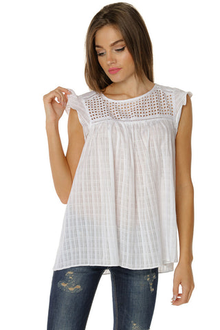 Butterfly Sleeve Top- White