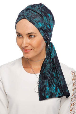Multi-way Wrap Turban - Remix (Blue/Black) (1063928332332)