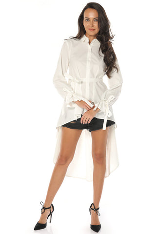 High Low Button Up Top - Off White