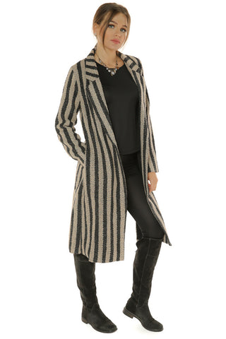 Vertical Stripe Jacket- Beige