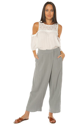 Asymmetrical Fold Over Waist Pants - Grey