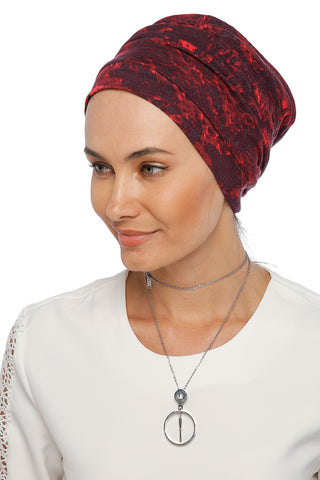 Simple Drape Turban - Remix (Red/Black) (1063989870636)