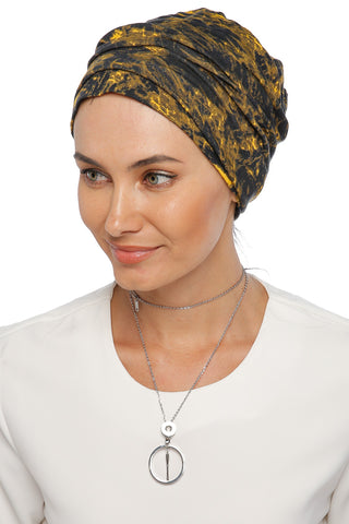 Simple Drape Turban - Remix (Yellow/Black) (1063981678636)