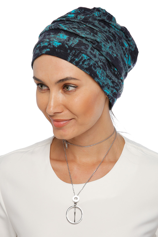 Simple Drape Turban - Remix (Blue/Black) (1063985381420)