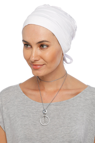 Simple Drape Tie Turban - White