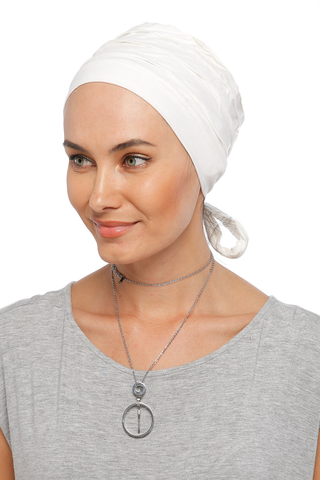 Simple Drape Tie Turban - Off White (1365506588716)