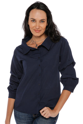 Shirt with Fluffy Long Sleeves - Navy