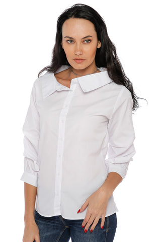 Shirt with Fluffy Long Sleeves - White
