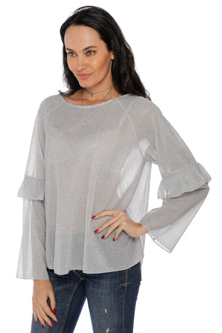 Shimmer Long Sleeve Top - Silver (467560398886)