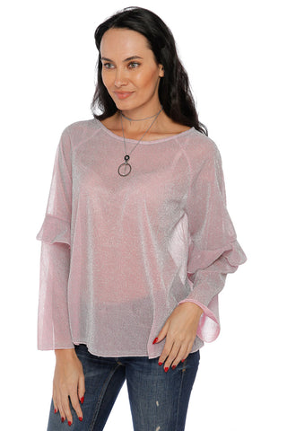 Shimmer Long Sleeve Top - Pink (467588710438)