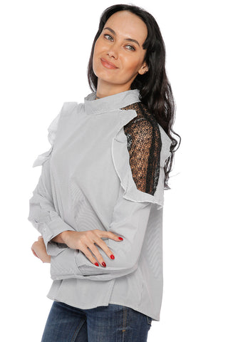 Cold Shoulder Lace Striped Shirt - Grey