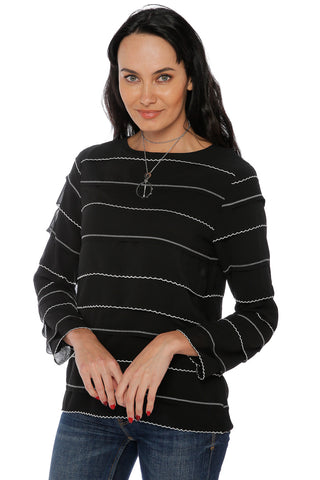 Long Sleeve Top with Ruffles- Black/ White