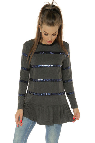 sequin Trim Top- Charcoal - Gingerlining