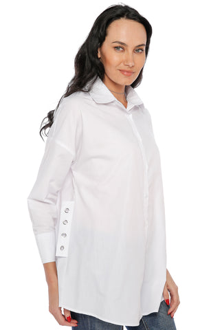 Plain Shirt with Lace Strap - White