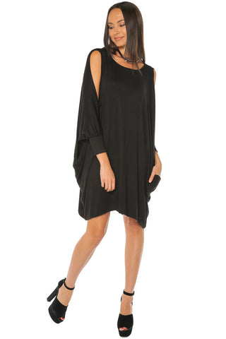 Cold Shoulder Drape Dress - Black - Gingerlining
