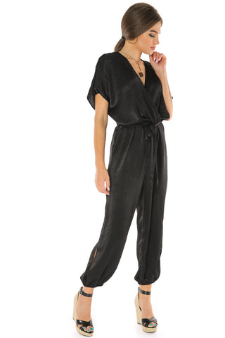 Waist Band Jumpsuit - Black - Gingerlining