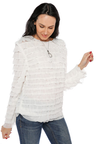 Ruffled Requena Top- White