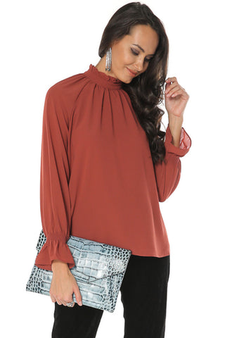 High Neck Shirt - Henna - Gingerlining