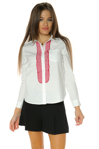 Gingham Ruffle Collared Shirt- White/ Red2 - Gingerlining