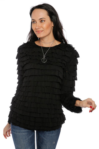 Ruffled Requena Top- Black