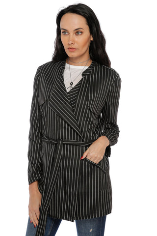 Striped Belted Jacket- Black & Taupe
