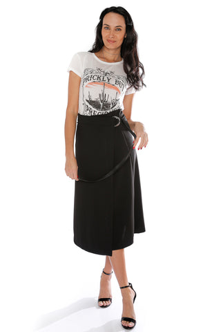 A line Wrap Around Skirt - Black (463418654758)