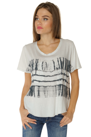 Tie Dye top with Layered Draping Back- Charcoal