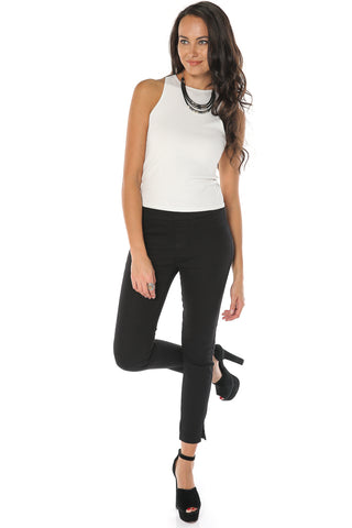 Cropped Gartered Pants - Black