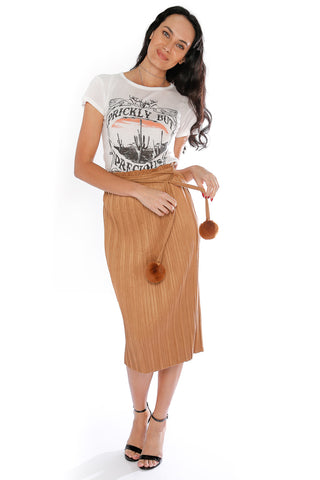 Straight Pleated Skirt with Tassel Belt