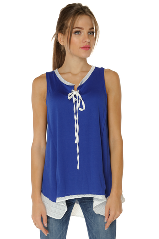 Sleeveless Wide Neck Top- Blue