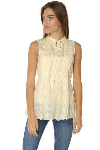 Embroidered Ruff Top- White