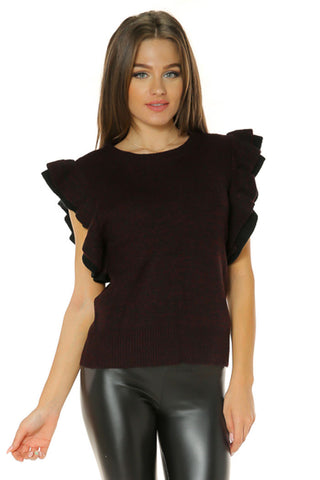 Ruffle Sleeve Sweater Top- Wine/Black 2 - Gingerlining