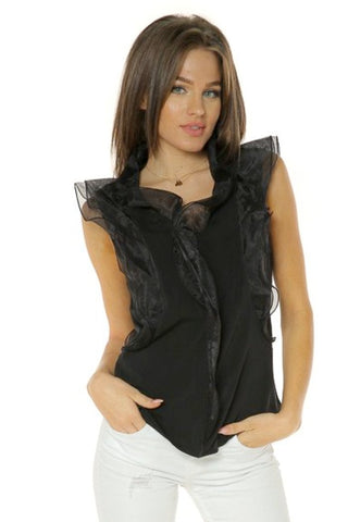 Organza Ruffle Sleeveless Blouse- Black - Gingerlining