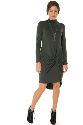 Long Sleeves Mock Neck Knot Dress- Olive - Gingerlining