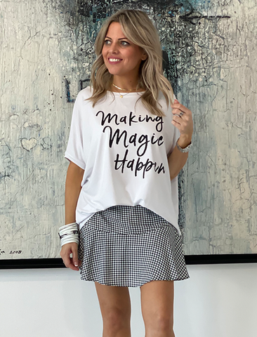 Get It Right Basic Tee- White / Making Magic Happen (4170137370757)