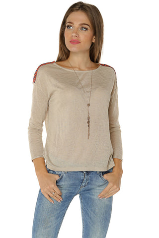 Shoulder Patch Knit Top- Taupe - Gingerlining