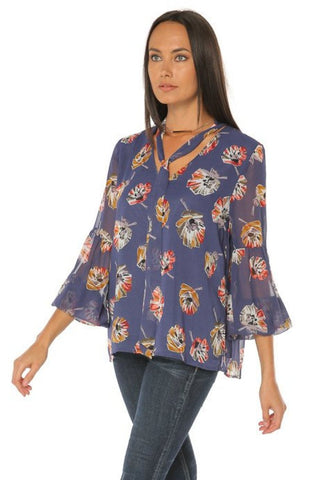 Puffed Long Sleeve Blouse - Floral Print - Gingerlining (9045130001)