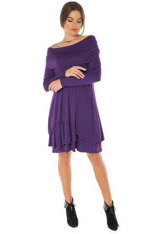 Off Shoulder Cowl Neck Tiered Dress- Avvio Light - Gingerlining