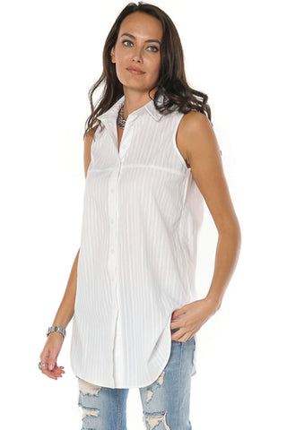 Long Sleeveless Button Down Shirt - Gingerlining