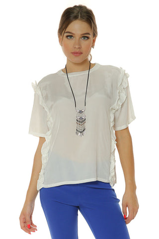 Short Sleeve Top with Ruffle- White