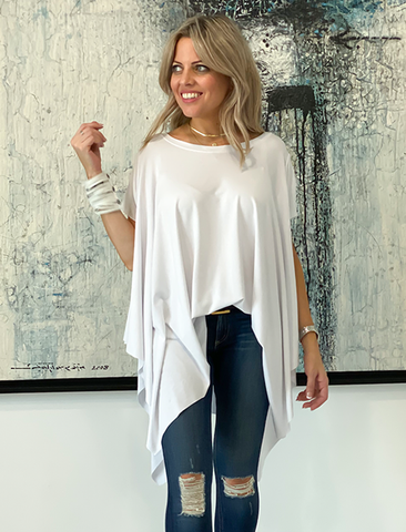 Short Sleeves Poncho Top - White (4170129014917)