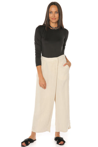 Asymmetrical Fold Over Waist Pants - Natural - Gingerlining