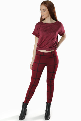 Fall Plaid Leggings- Wine - Gingerlining (8409439825)