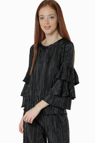 Pleated Double Bell Sleeve Top- Back - Gingerlining
