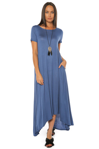 Flared Maxi Dress - Denim