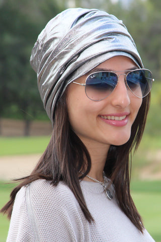 Simple Drape Turban - Metallic Silver (1707835981868)