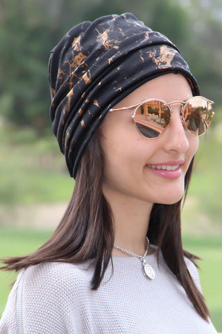 Simple Drape Turban - Remix Black & Gold