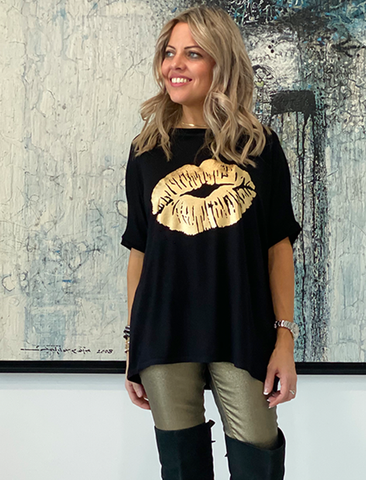 Get It Right Basic Tee- Black / Gold Lips (4170137665669)