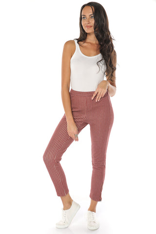 Pinstripe Pants - Burgundy - Gingerlining